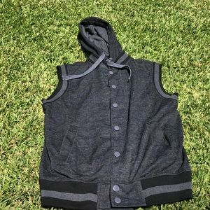 Black button up hooded vest